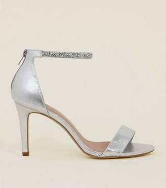 New Look Wide Fit Silver Crystal Strap Wedding Sandals