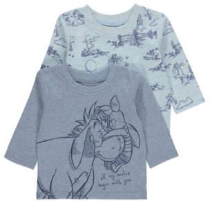 Disney George Winnie the Pooh Blue Long Sleeve Tops