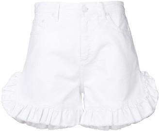 MSGM frill-hem denim shorts