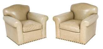 Pair of Stoich Calf Leather Club Chairs