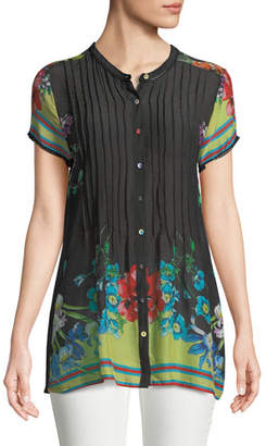 Johnny Was Short-Sleeve Flower Button-Front Pintucked Blouse