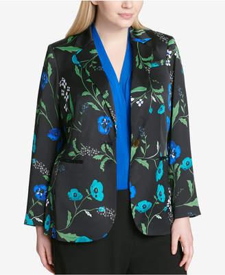 Calvin Klein Plus Size Floral-Print One-Button Jacket