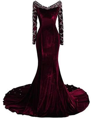 R & E Uryouthstyle Velvet Mermaid Prom Dresses Crystals Long Sleeves Evening Gowns US RE
