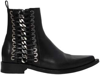 Alexander McQueen 20mm Braided Chain Leather Boots