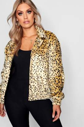 boohoo Plus Leopard Faux Fur Trucker Jacket