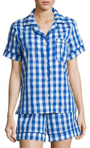 BedHeadBedhead Gingham Shorty Pajama Set, Navy
