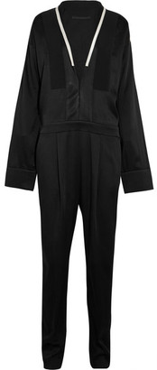 Haider Ackermann - Oversized Satin-trimmed Crepe De Chine Jumpsuit - Black $2,590 thestylecure.com