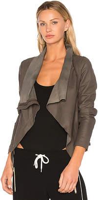 Muubaa Zipper Drape Front Jacket in Gray $506 thestylecure.com