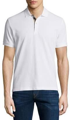 Burberry Short-Sleeve Oxford Polo Shirt, White