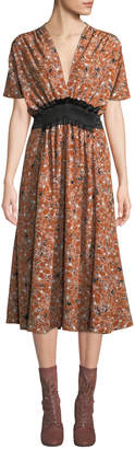 Cédric Charlier Short-Sleeve V-Neck Tie-Waist Floral-Print Midi Dress
