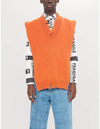 Maison Margiela Distressed-trim V-neck wool jumper
