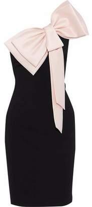 Badgley Mischka One-Shoulder Bow-Embellished Crepe Dress