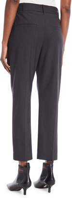 Brunello Cucinelli Lightweight Wool Straight-Leg Zip Pants with Monili Tie Belt