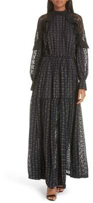 Self-Portrait Floral Fil Coupe Maxi Dress