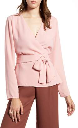 Halogen Tie Detail Wrap Blouse