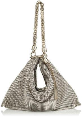 Jimmy Choo CALLIE Silver Chain Mail Mesh Clutch Bag with Chain Strap