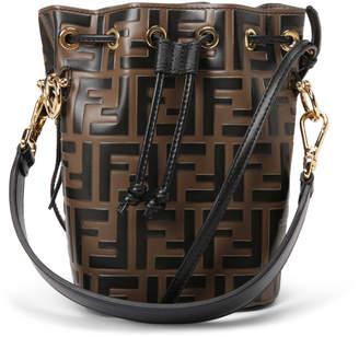 48bdc25f0 Fendi Mon Tresor Bucket Bag Zucca Embossed Small Tobacco Black
