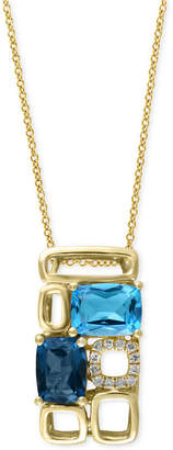 Effy Mosaic By Blue Topaz (3-1/4 ct. t.w.) and Diamond Accent Pendant Necklace in 14k Gold