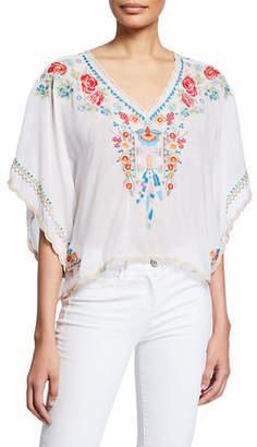 Johnny Was Plus Size Klarah V-Neck Embroidered Georgette Top w/ Lace Trim