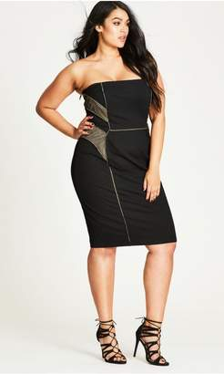 City Chic Citychic Gold Sexy Mesh Sheath Dress