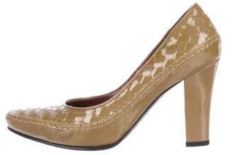 Bottega Veneta Intrecciato Patent Leather Mid-Heel Pumps