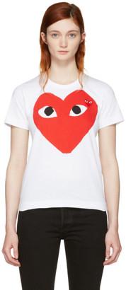 Comme des Garçons Play White Double Large Heart T-Shirt $110 thestylecure.com