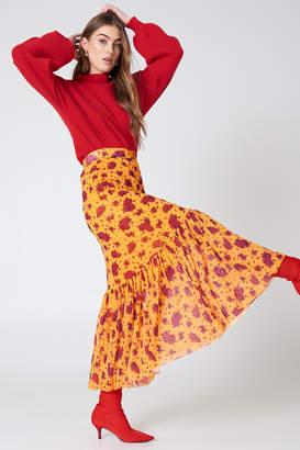 Na Kd Trend Mesh Ankle Length Skirt Red Flower