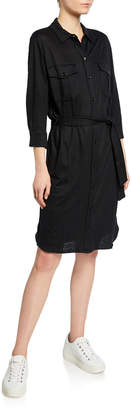 Majestic Button-Down Long-Sleeve Stretch-Linen Belted Shirtdress