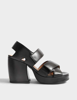 Kenzo Aori High Heel Sandals in Black Leather