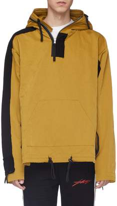 Indice Studio Colourblock nylon panel hooded knit half-zip anorak