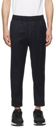 Ami Alexandre Mattiussi Navy Wool Elastic Waist Trousers