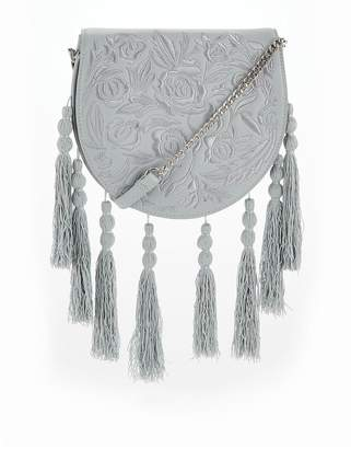 Very Embroidered Tassel Crossbody Bag - Pale Blue