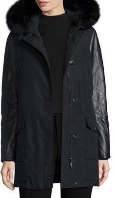 Woolrich Leather-Trim Arctic Parka Coat w/ Fox Fur, New Black $995 thestylecure.com