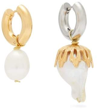 Timeless Pearly - Mismatched Baroque Pearl Gold Plated Drop Earrings - Womens - Pearl