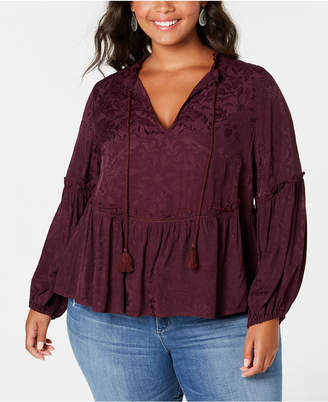 Lucky Brand Trendy Plus Size Jacquard Peasant Top
