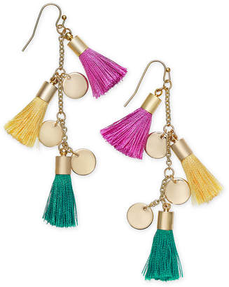 INC International Concepts I.n.c. Gold-Tone Tassel and Shaky Disc Drop Earrings, Created for Macy's