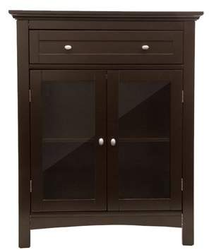 URBAN RESEARCH Glitzhome Wooden Floor Storage Cabinet With Double Doors, Espresso