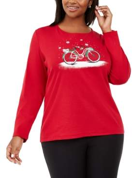 Karen Scott Plus Size Cotton Winter Graphic Top, Created For Macy's