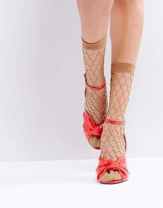 Asos Design Gold Glitter Fishnet Ankle Socks