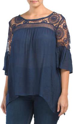 Plus Crochet Bell Sleeve Top