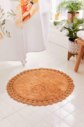 Round Crochet Trim Bath Mat