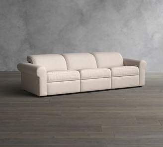 Pottery Barn PB Ultra Lounge Roll Arm Upholstered 3 Piece Reclining Sofa Sectional