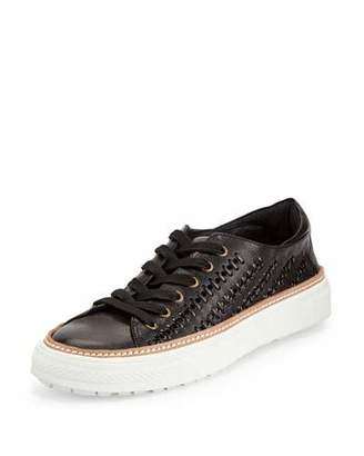 Delman Mela Perforated-Leather Sneaker, Black $248 thestylecure.com