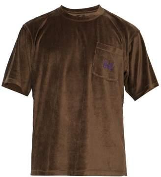 Needles - Butterfly Embroidered Velvet T Shirt - Mens - Brown