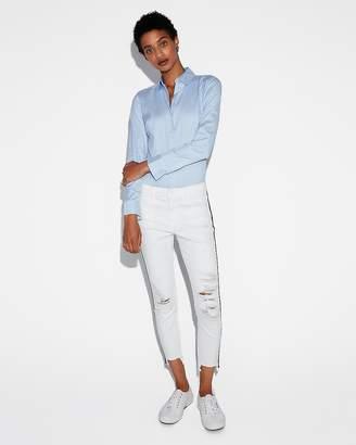 Express Fitted Striped Essential Shirt Bikini Bodysuit