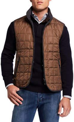Neiman Marcus Men's Box Quilt Zip-Front Vest