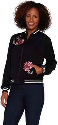 Susan Graver Embroidered Stretch Peachskin Bomber Jacket