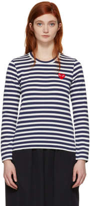 Comme des Garcons Navy and White Long Sleeve Striped Heart T-Shirt