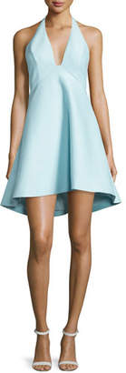 Halston Sleeveless V-Neck A-line High-Low Cocktail Dress