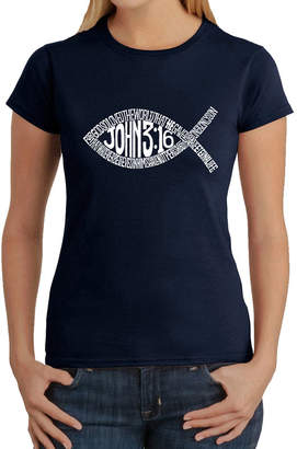LOS ANGELES POP ART Los Angeles Pop Art Women's Word Art T-Shirt - John 3:16 Fish Symbol